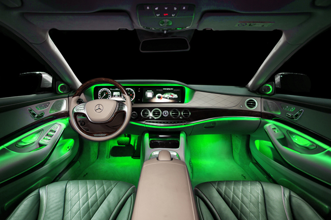 Full color led interior car kit under dash foot floor seats accent lighting for Interior accent lights for cars