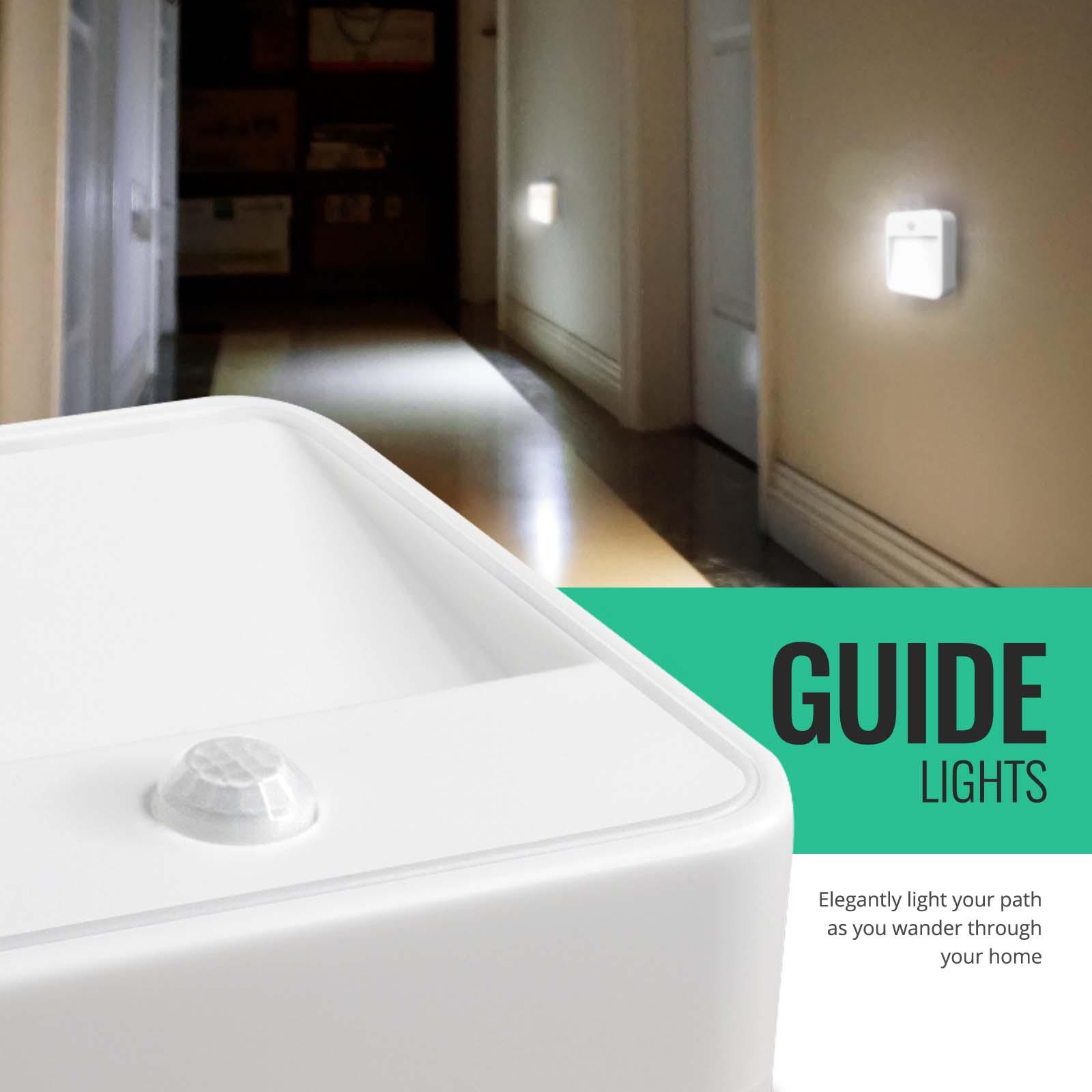 3x Bathroom Cabinet Battery Operated Led Guide Light Pir 20 Lumen Modern Ebay